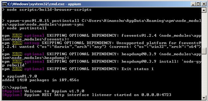 Start Appium Server from command line – Selenium Tutorial